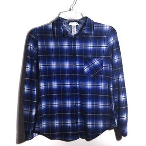 One Urban Day Plaid Flannel Button Down S